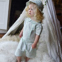 pastel mint unisex linen top and shorts for children by powell craft