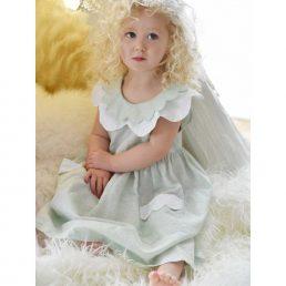 pastel mint girls linen dress by powell craft