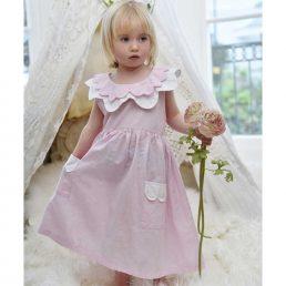 powder pink girls linen dress by powell craft