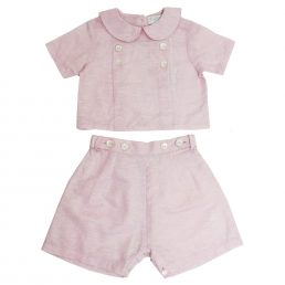 powder pink unisex linen top and shorts for children by powell craft
