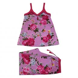 ladies lilac floral camisole pyjamas by powell craft