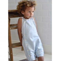 powder blue unisex linen dungarees by powell craft